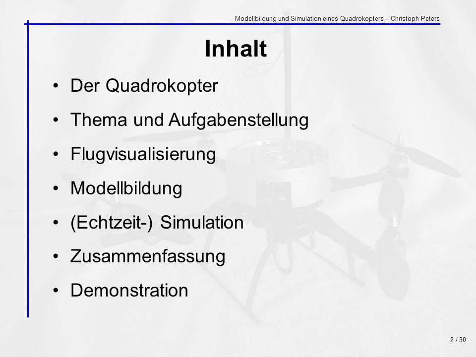 Inhalt Der Quadrokopter Thema und Aufgabenstellung Flugvisualisierung