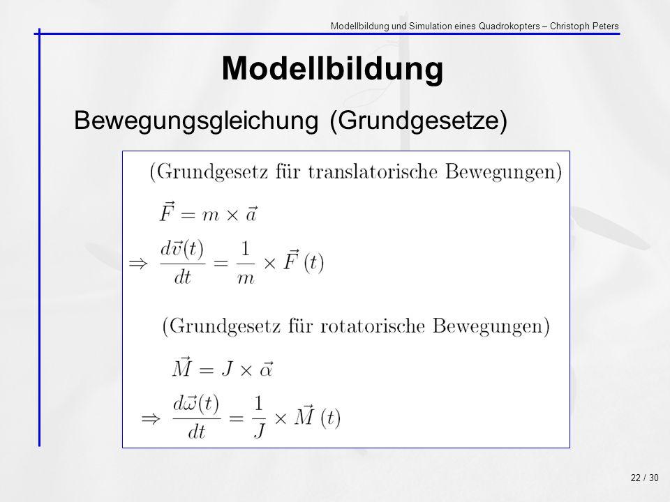 Modellbildung Bewegungsgleichung (Grundgesetze)