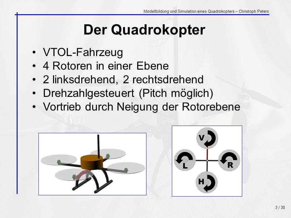 Der Quadrokopter VTOL-Fahrzeug 4 Rotoren in einer Ebene