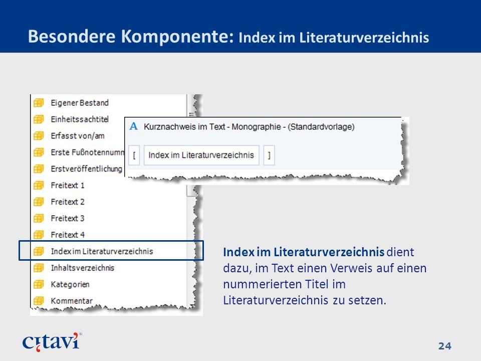 Besondere Komponente: Index im Literaturverzeichnis
