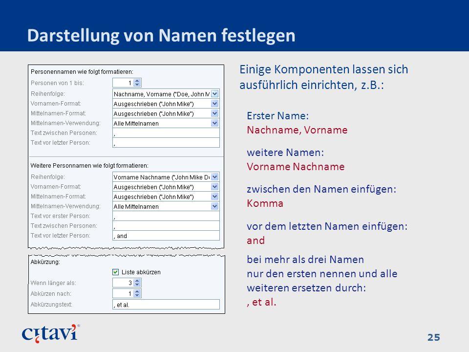 Darstellung von Namen festlegen