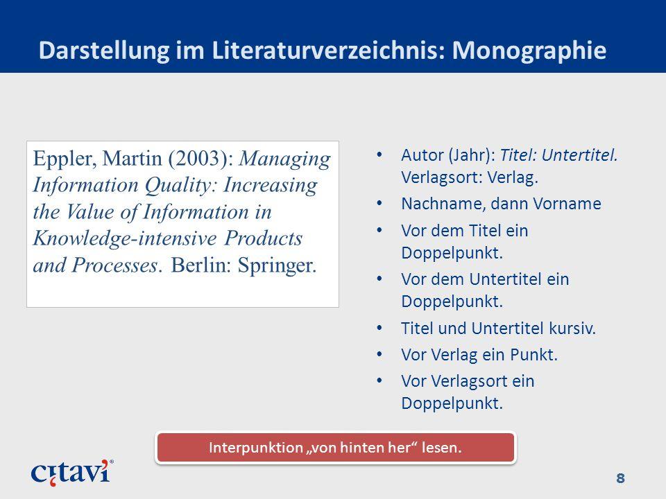 Darstellung im Literaturverzeichnis: Monographie