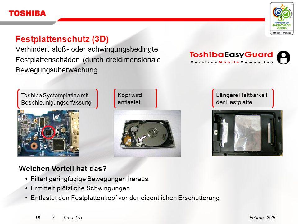 Festplattenschutz (3D) Verhindert stoß- oder schwingungsbedingte Festplattenschäden (durch dreidimensionale Bewegungsüberwachung