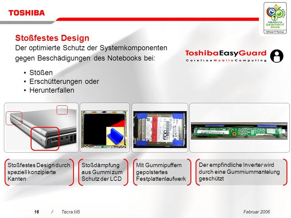 Stoßfestes Design Der optimierte Schutz der Systemkomponenten gegen Beschädigungen des Notebooks bei: