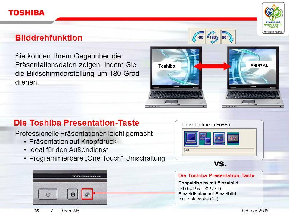 vs. Bilddrehfunktion Die Toshiba Presentation-Taste