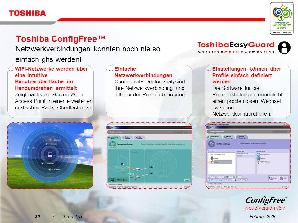 Toshiba ConfigFree™ Netzwerkverbindungen konnten noch nie so einfach ghs werden!