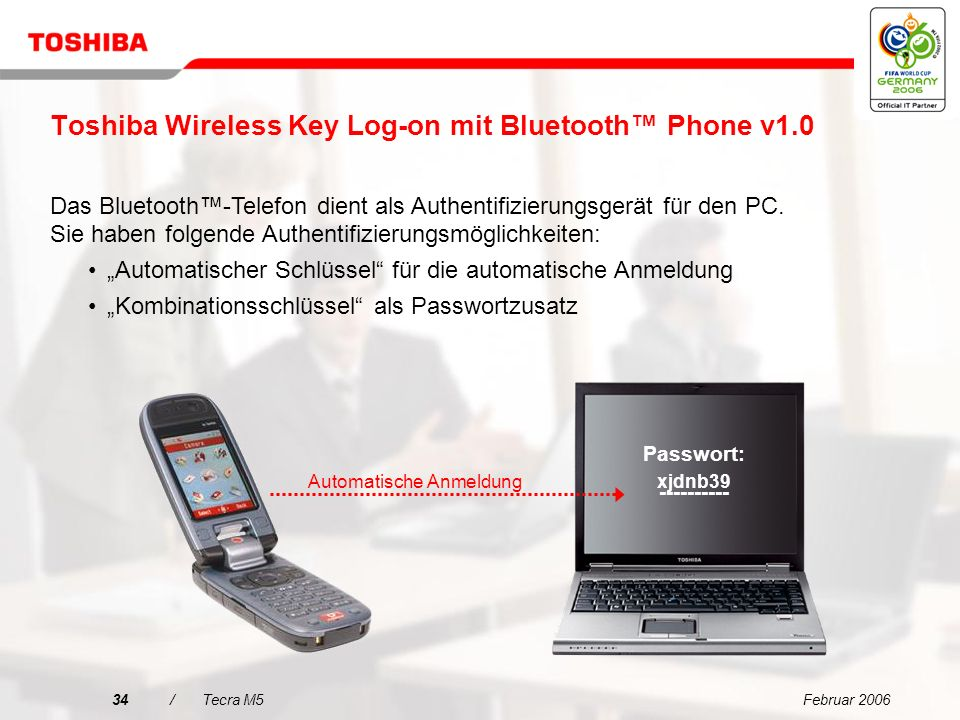 Toshiba Wireless Key Log-on mit Bluetooth™ Phone v1.0