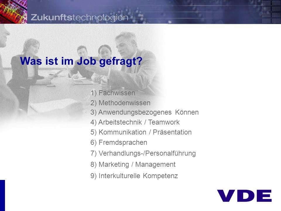 Was ist im Job gefragt 1) Fachwissen 2) Methodenwissen
