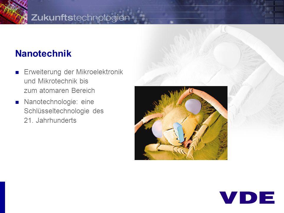 Nanotechnik Erweiterung der Mikroelektronik und Mikrotechnik bis zum atomaren Bereich.