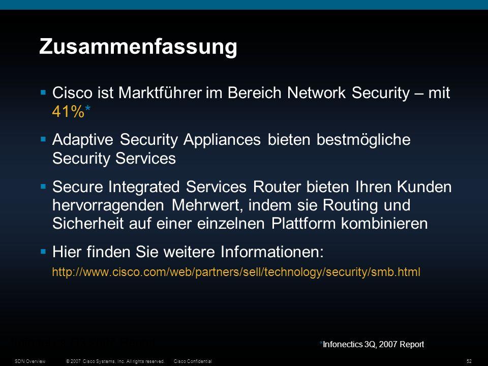 ZusammenfassungCisco ist Marktführer im Bereich Network Security – mit 41%* Adaptive Security Appliances bieten bestmögliche Security Services.