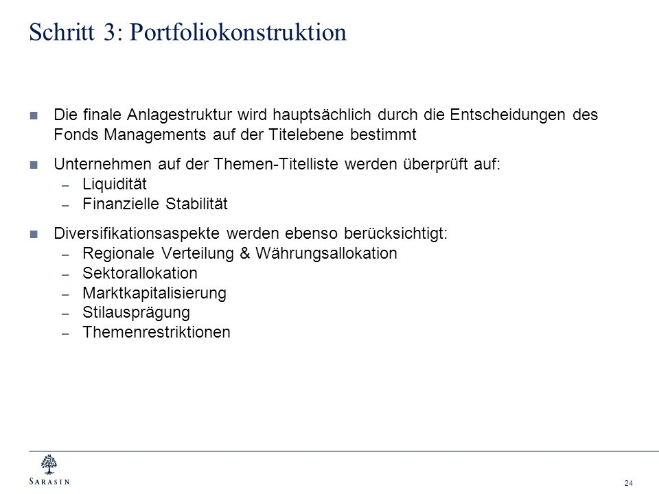 Schritt 3: Portfoliokonstruktion