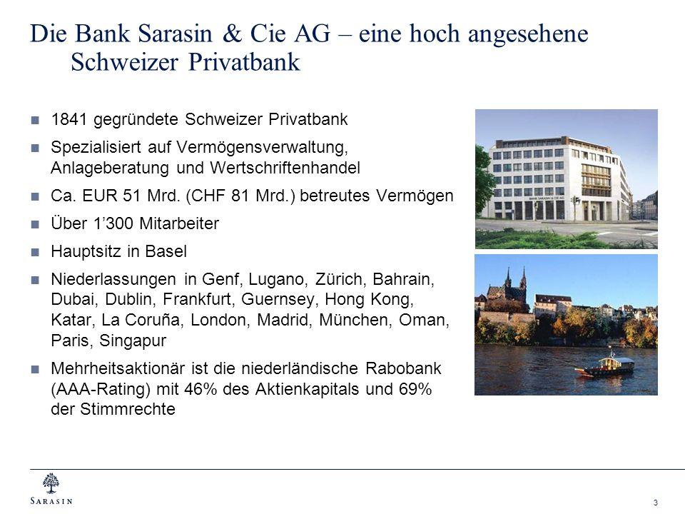 Die Bank Sarasin & Cie AG – eine hoch angesehene Schweizer Privatbank