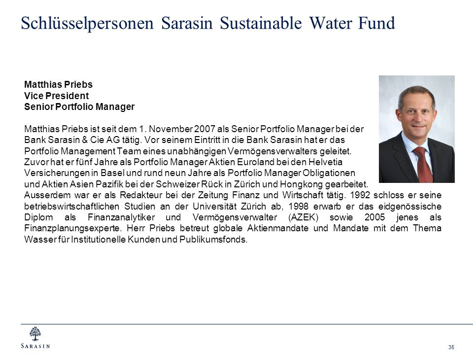 Schlüsselpersonen Sarasin Sustainable Water Fund