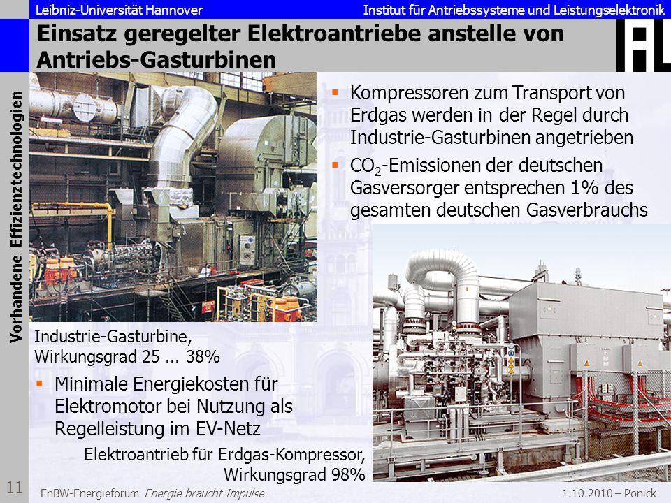 Einsatz geregelter Elektroantriebe anstelle von Antriebs-Gasturbinen