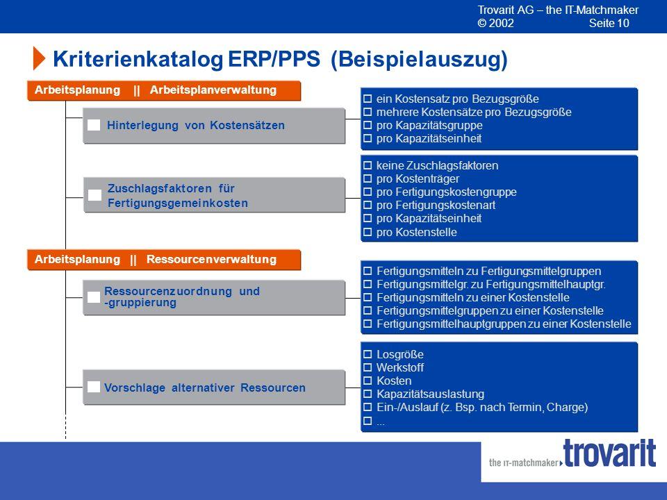 Kriterienkatalog ERP/PPS (Beispielauszug)