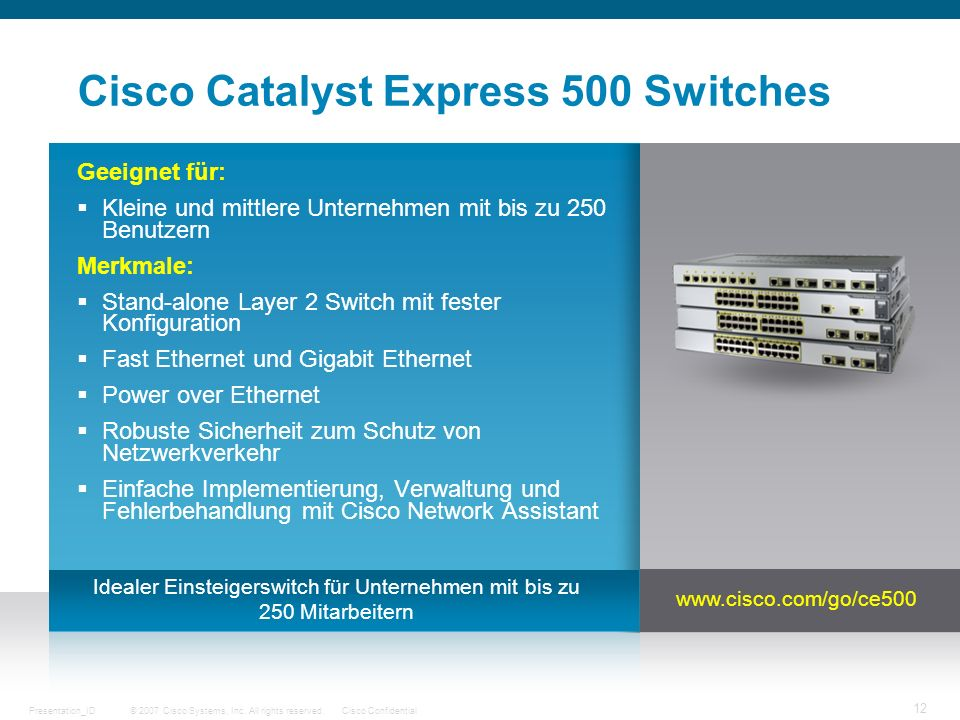 Cisco Catalyst Express 500 Switches