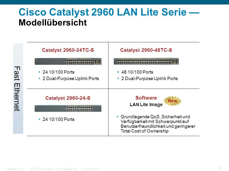 Cisco Catalyst 2960 LAN Lite Serie — Modellübersicht