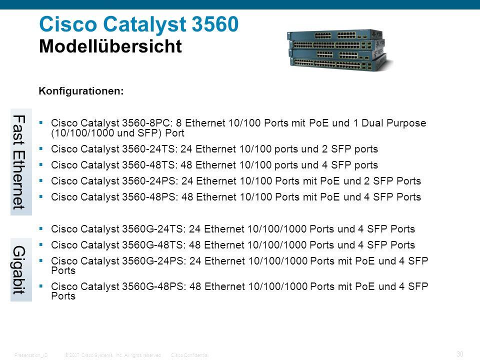 Cisco Catalyst 3560 Modellübersicht