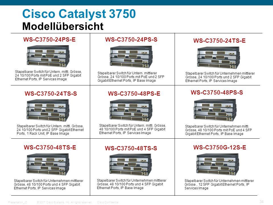 Cisco Catalyst 3750 Modellübersicht