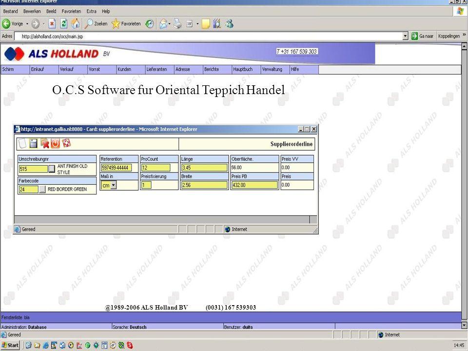 O.C.S Software fur Oriental Teppich Handel