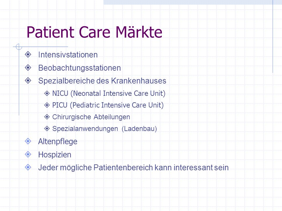 Patient Care Märkte Intensivstationen Beobachtungsstationen