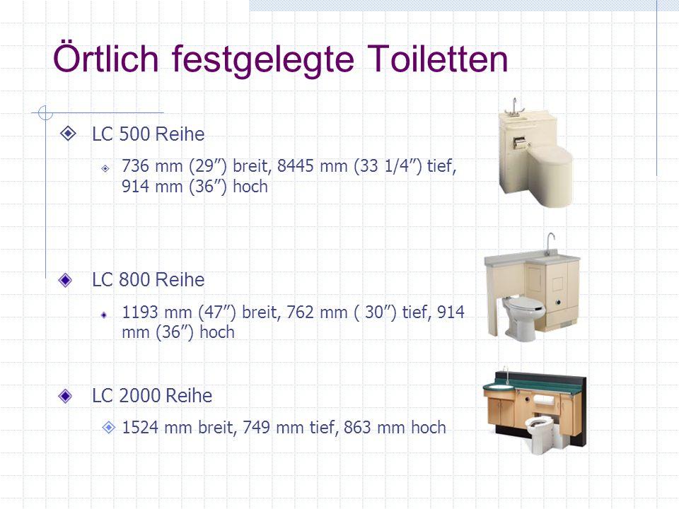 Örtlich festgelegte Toiletten
