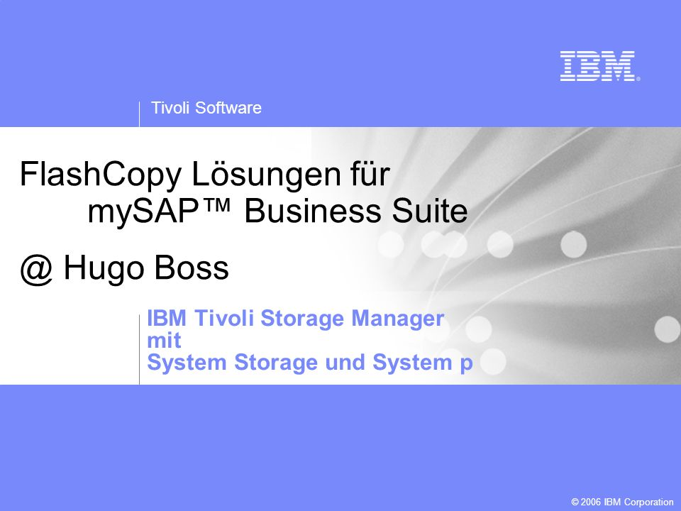 FlashCopy Lösungen für mySAP™ Business Suite @ Hugo Boss