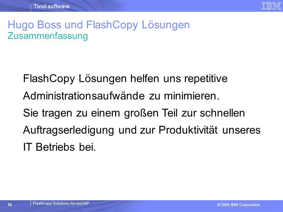 Hugo Boss und FlashCopy Lösungen Zusammenfassung