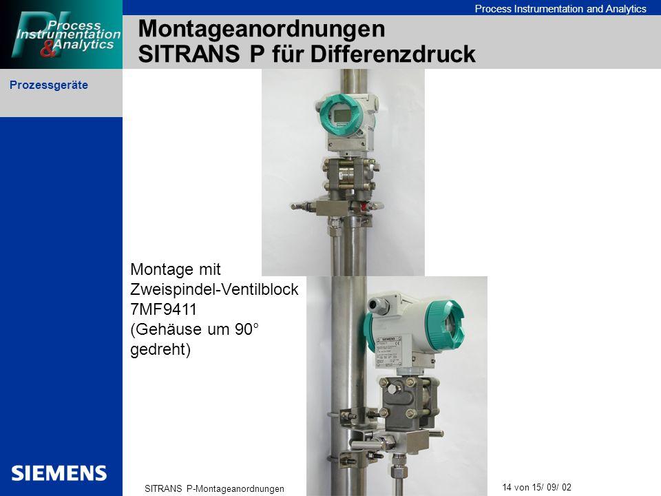 Montageanordnungen SITRANS P für Differenzdruck