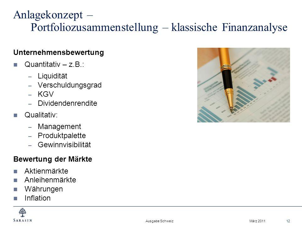 Anlagekonzept – Portfoliozusammenstellung – klassische Finanzanalyse