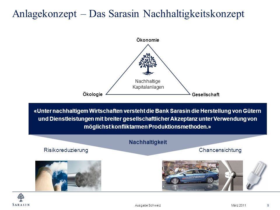 Anlagekonzept – Das Sarasin Nachhaltigkeitskonzept