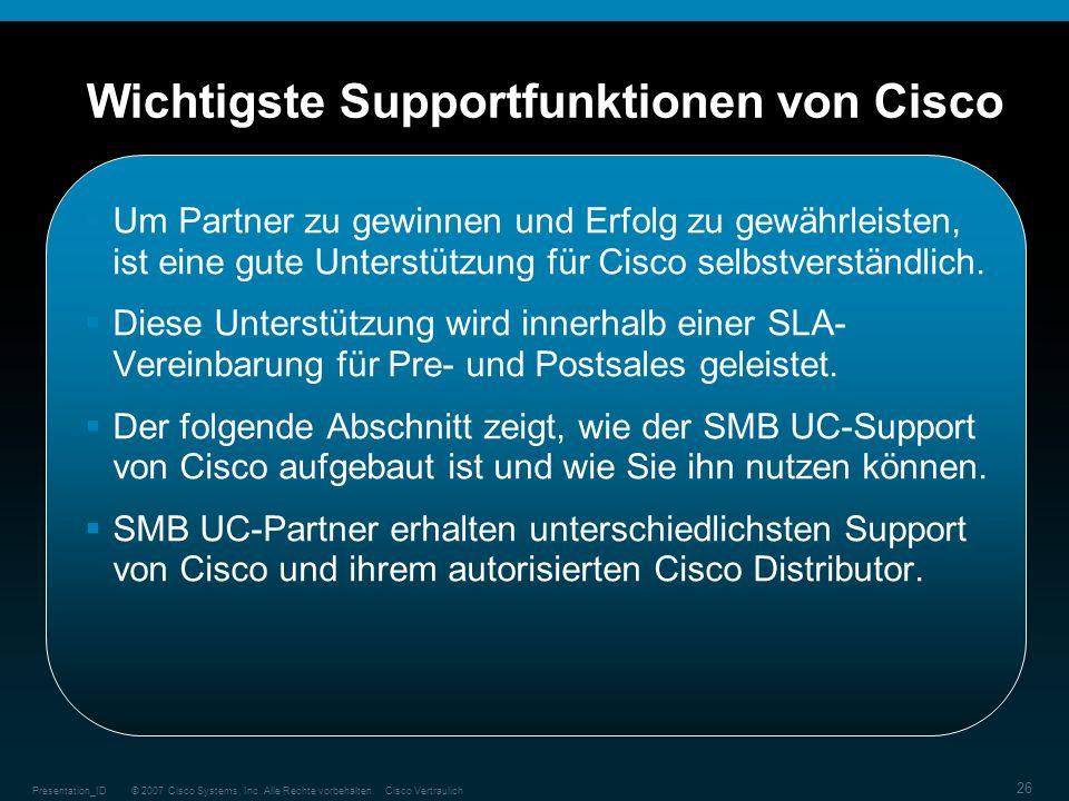 Wichtigste Supportfunktionen von Cisco