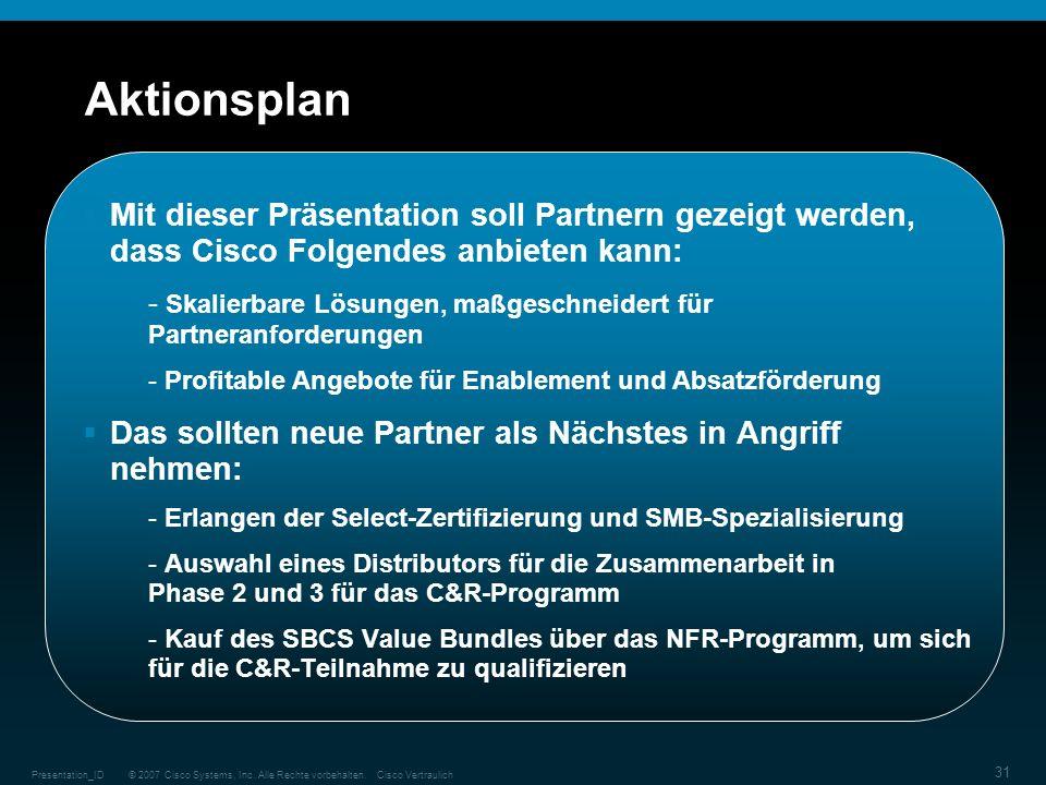 Aktionsplan Mit dieser Präsentation soll Partnern gezeigt werden, dass Cisco Folgendes anbieten kann:
