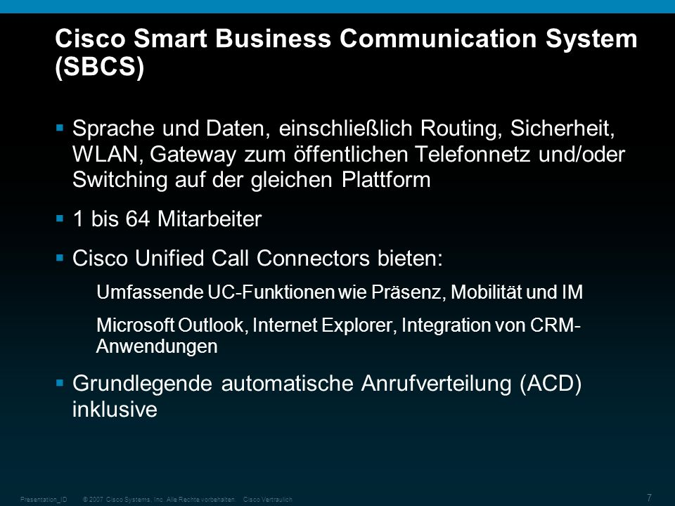 Cisco Smart Business Communication System (SBCS)