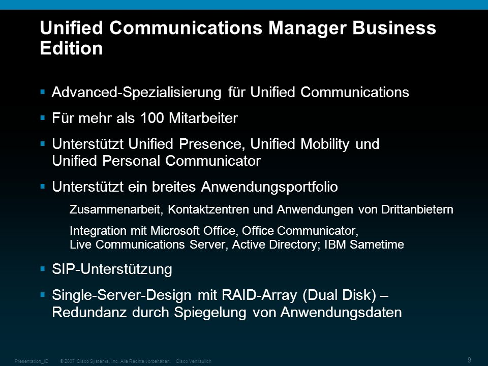 Unified Communications Manager Business Edition