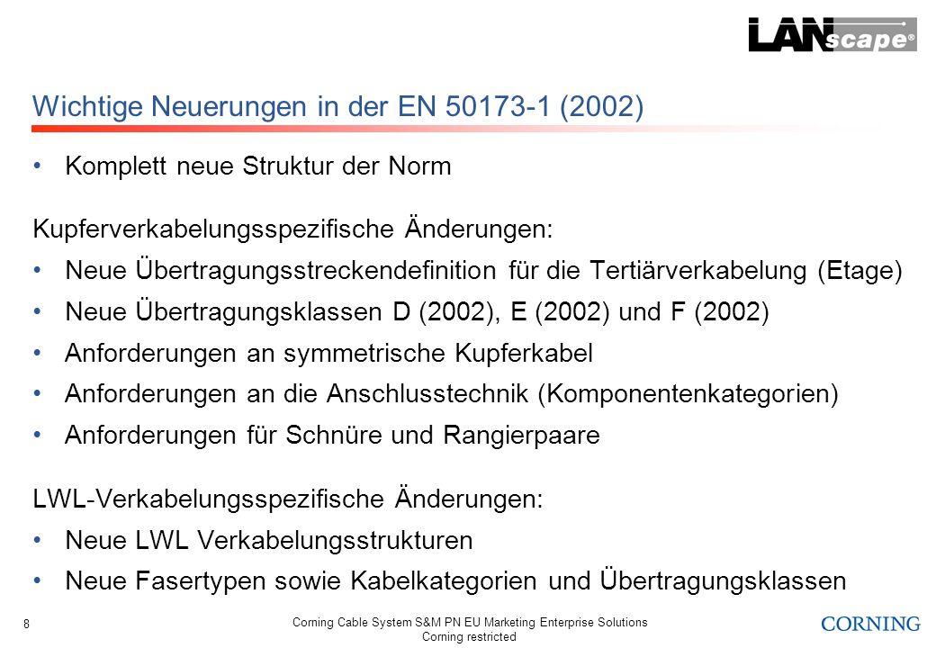 Wichtige Neuerungen in der EN 50173-1 (2002)