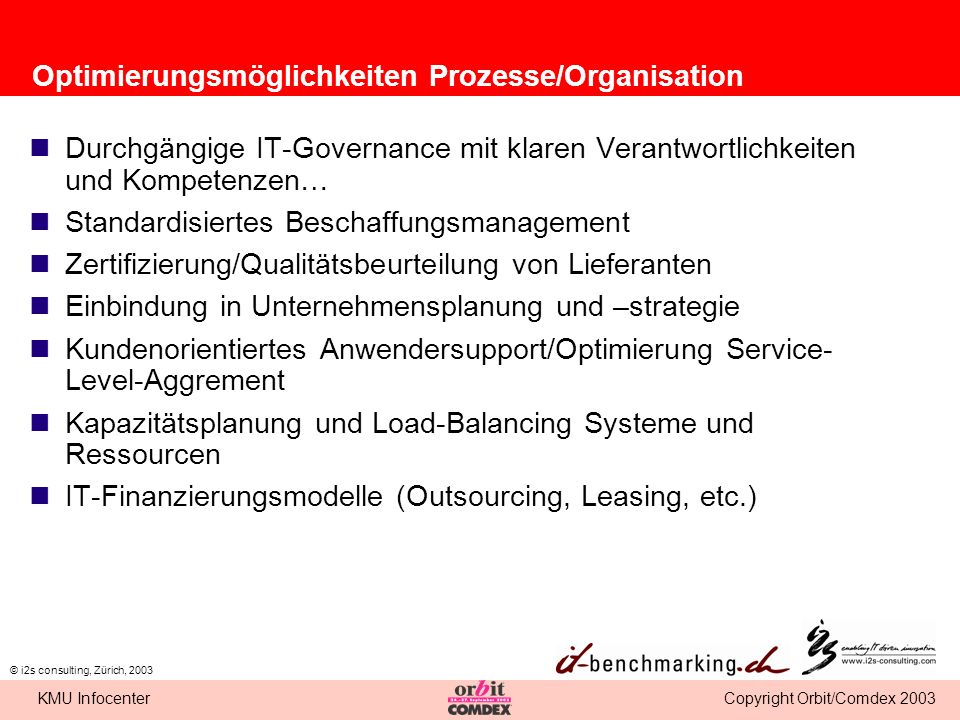 Optimierungsmöglichkeiten Prozesse/Organisation
