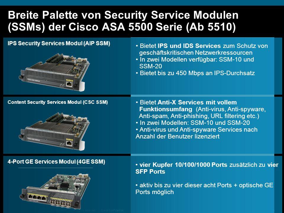 Breite Palette von Security Service Modulen (SSMs) der Cisco ASA 5500 Serie (Ab 5510)