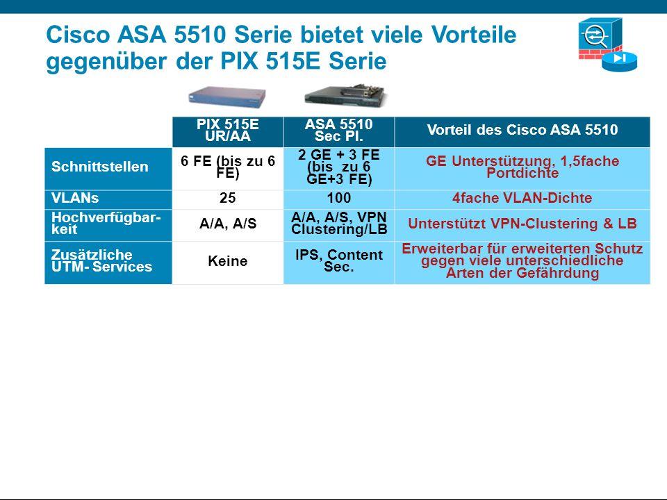 Cisco ASA 5510 Serie bietet viele Vorteile