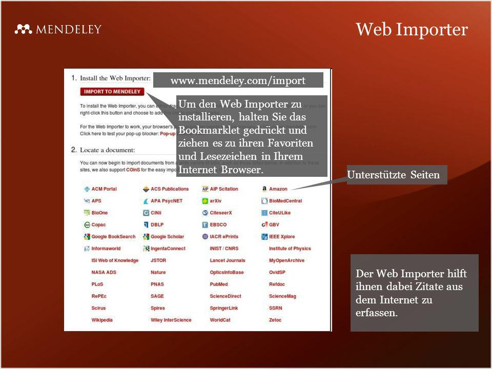 Web Importer www.mendeley.com/import