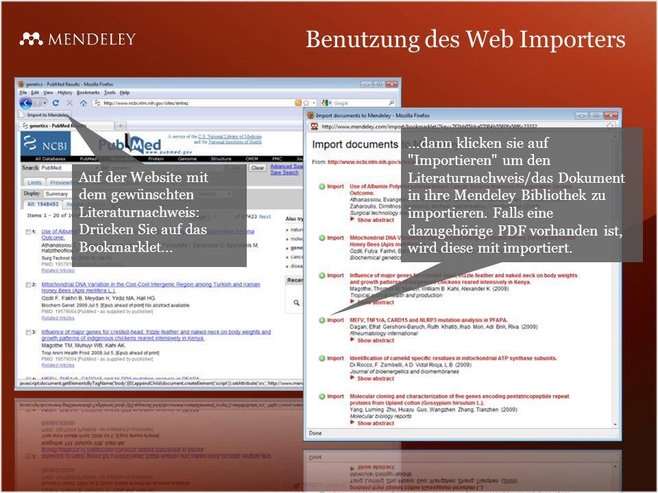 Benutzung des Web Importers