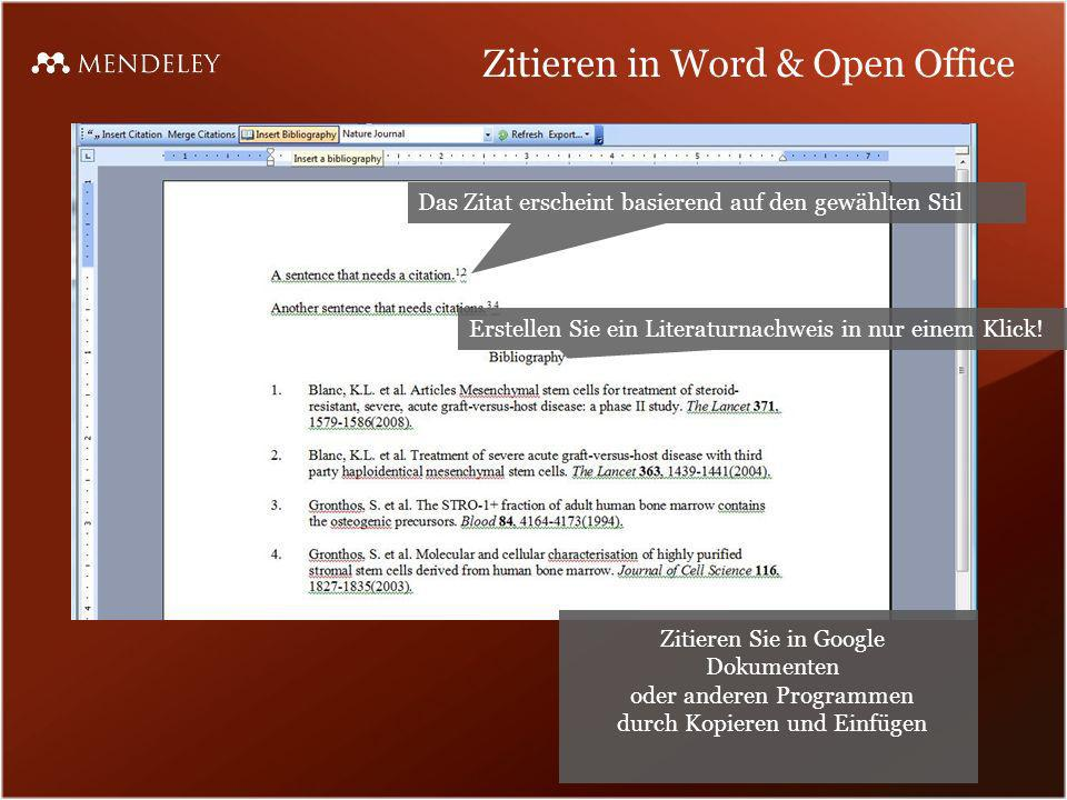 Zitieren in Word & Open Office