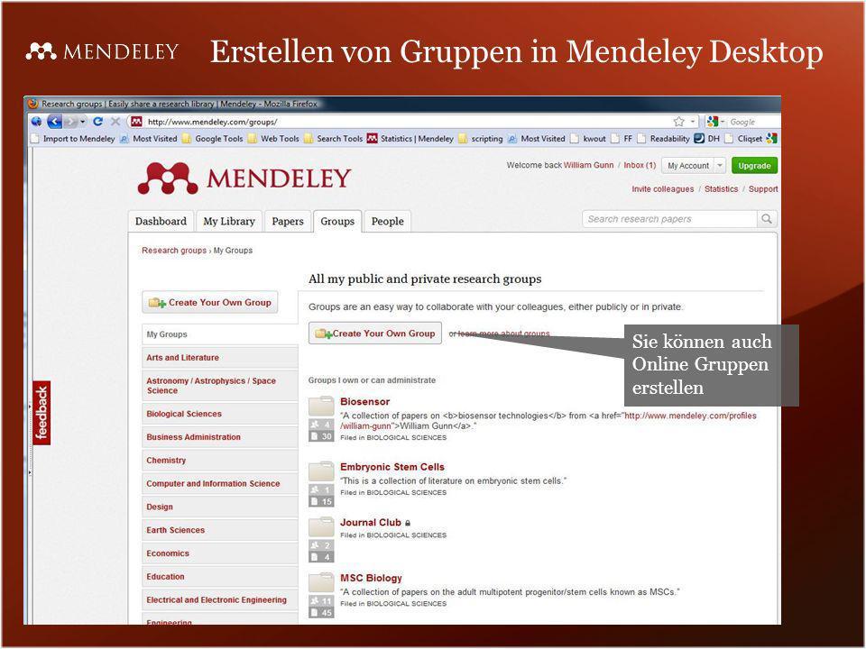 Erstellen von Gruppen in Mendeley Desktop