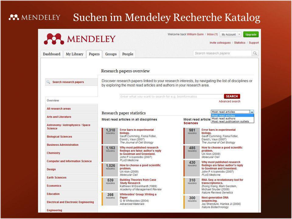 Suchen im Mendeley Recherche Katalog
