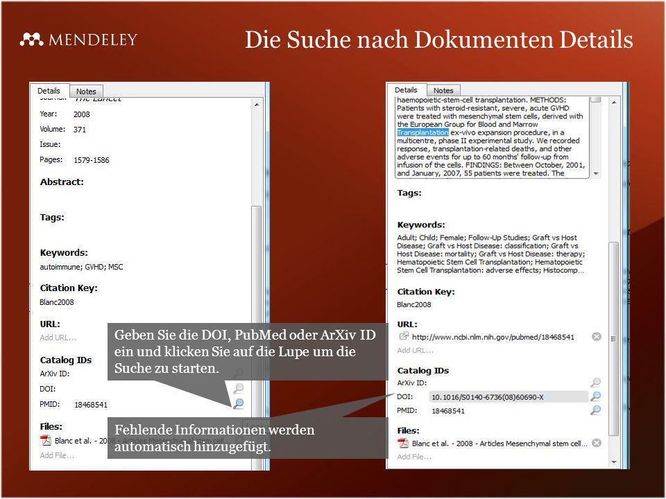 Die Suche nach Dokumenten Details