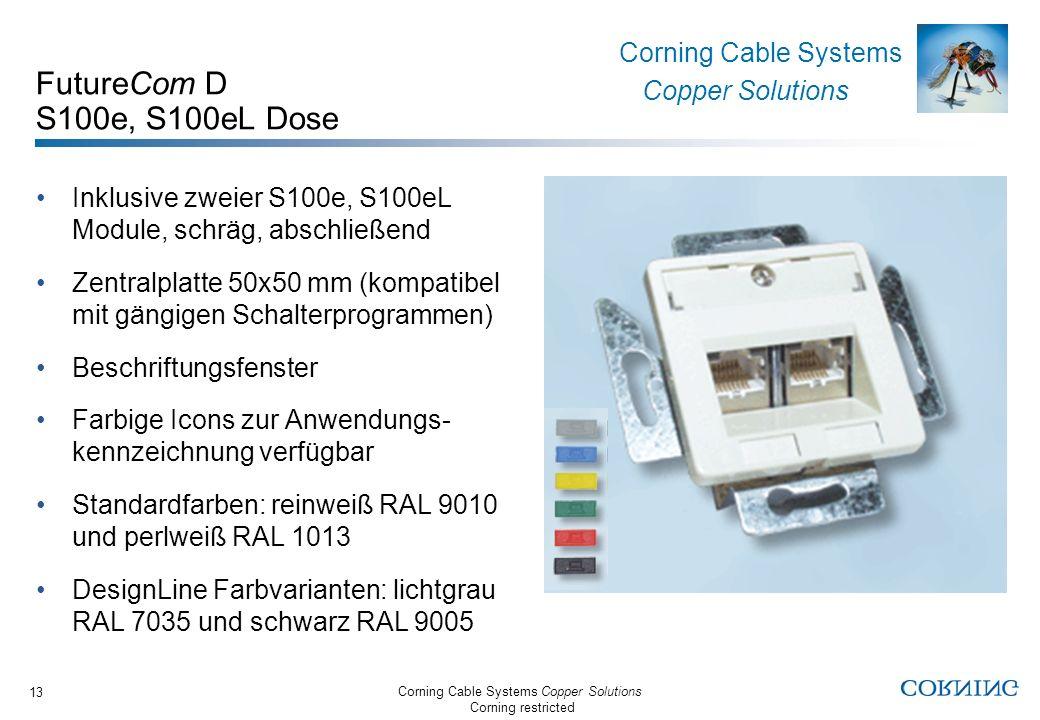 FutureCom D S100e, S100eL Dose Inklusive zweier S100e, S100eL Module, schräg, abschließend.