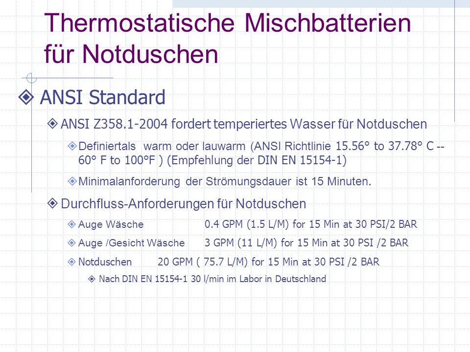 Thermostatische Mischbatterien für Notduschen