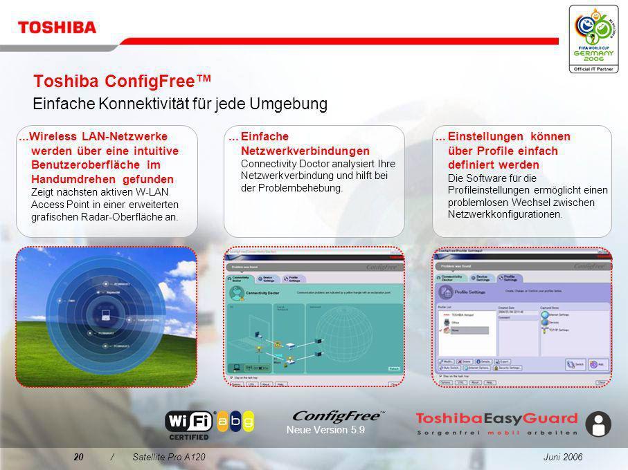 Toshiba ConfigFree™ Einfache Konnektivität für jede Umgebung