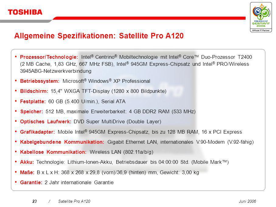 Allgemeine Spezifikationen: Satellite Pro A120