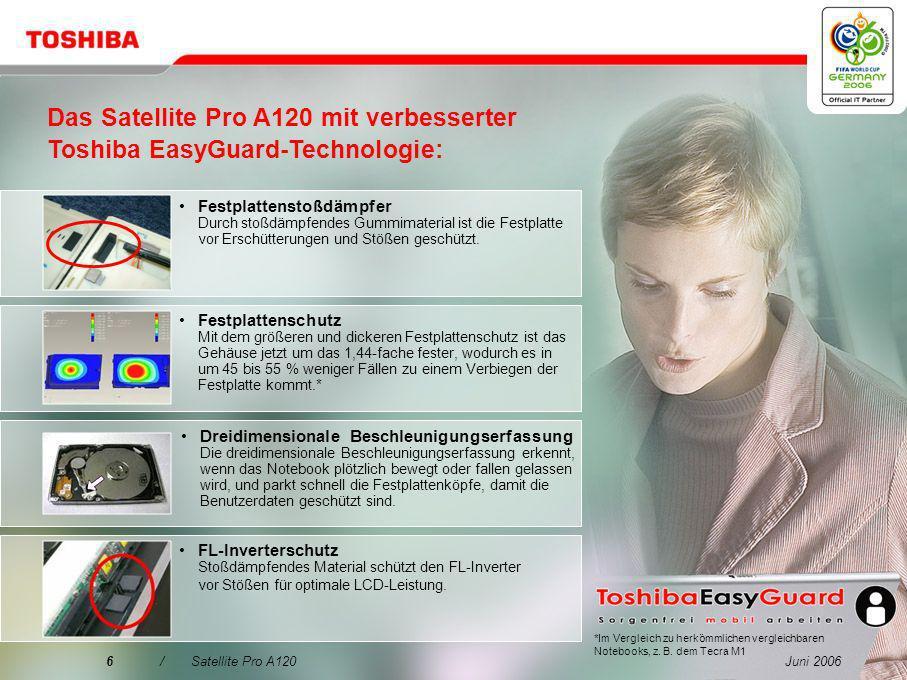 Das Satellite Pro A120 mit verbesserter Toshiba EasyGuard-Technologie: